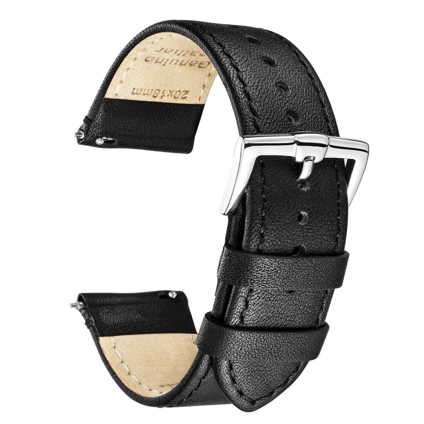 B&E Quick Release Watch Bands Top Smooth Genuine Leather Watch Strap Bracelet for Men & Women - 16mm 18mm 19mm 20mm 22mm 24mm by BRISMASSI ESETTI