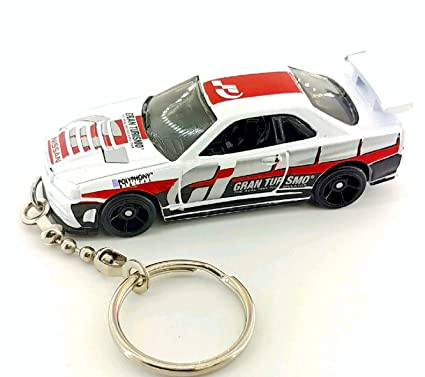 R35 Diecast Nissan Skyline Gtr Gt-r Yellow Toy Car Keyring Keychain Fast Color