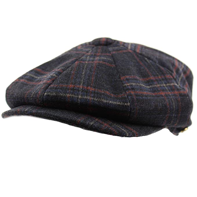 Men s Winter 8 Panel Plaid 100% Wool Snap Newsboy Drivers Cabbie Cap Hat  Medium 09db25621c0