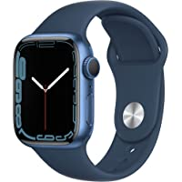 Apple Watch Series 7 (GPS) • 41‐mm kast van blauw aluminium • Abyss-blauw sportbandje - Standaardmaat