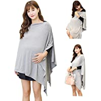Grey Nursing Cover Shawl Poncho Breastfeeding Cover Scarf Maternity Pregnancy Poncho Top for Breastfeeding and Baby Car Seat Cover Adjustable Buttons Design Breathable Bamboo 360° Suitable for All Seasons