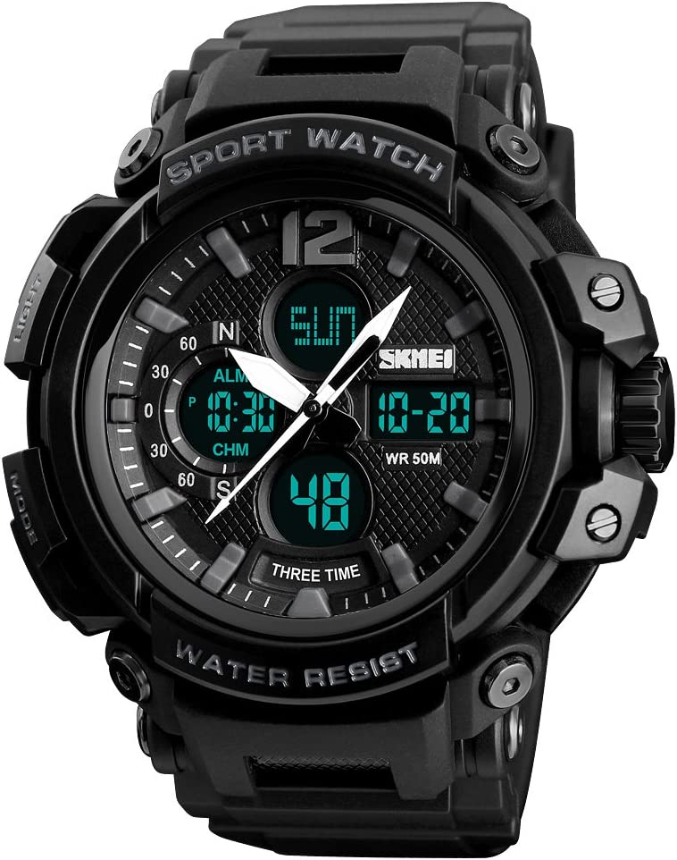 SKMEI New Men Quartz Digital Watch Big Face Sports Watch for Men LED Waterproof Wrist watches Black