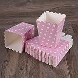 NUOLUX 24pcs compartimiento de las palomitas ponen las bolsitas de papel bocado diseño punto para las tablas del postre teatro de la película que casan favores (Pink)
