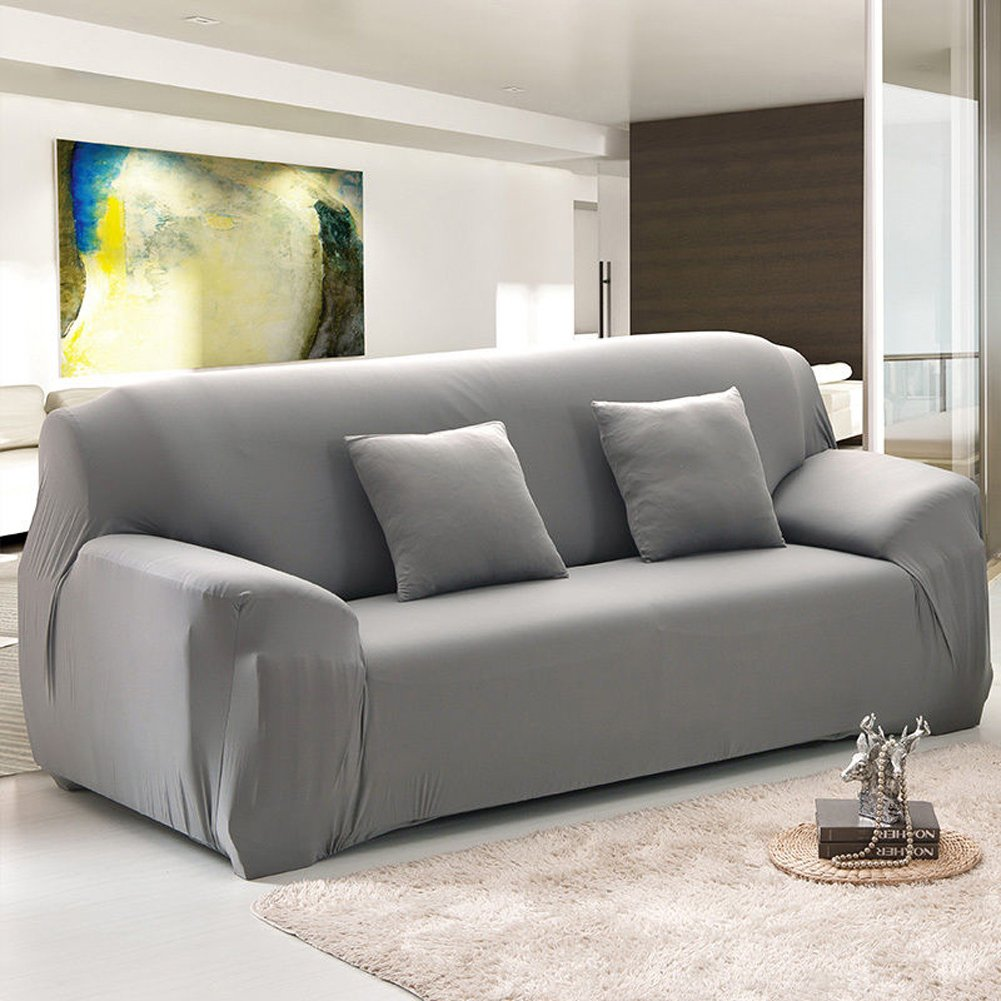Amazoncom Bluecookies Stretch Arm Elastic Sofa Slipcover Grey