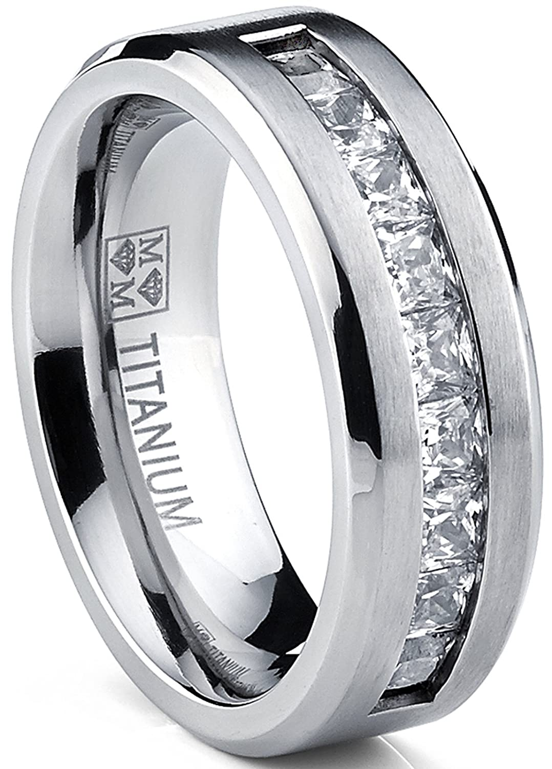 Metal Masters Co. Titanium Men's Wedding Band Engagement Ring with 9 large Princess Cut Cubic Zirconia TIR-1131