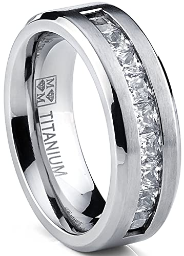 Titanium Mens Wedding Band Engagement Ring With 9 Large Princess Cut Cubic Zirconia Size 7