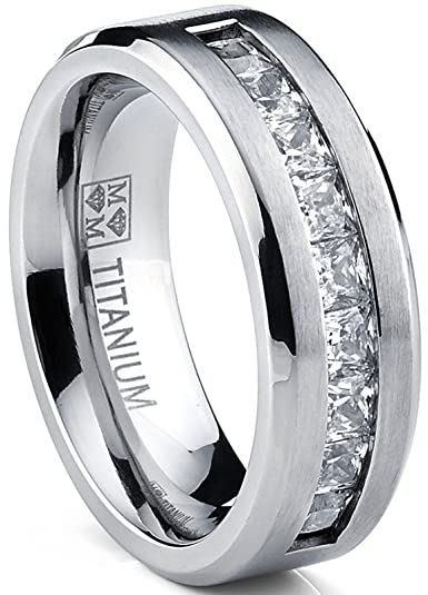 Titanium Menu0027s Wedding Band Engagement Ring With 9 Large Princess Cut Cubic  Zirconia Size 7