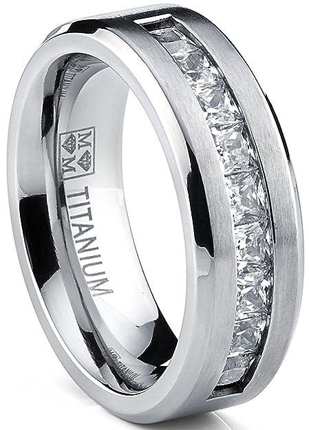 Ultimate Metals® Anillo de Matrimonio Titanio Para Hombre, Alianaza de Boda Con Circonitas Talla