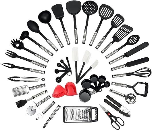 Oferta amazon: NEXGADGET Utensilios de Cocina de Acero Inoxidable y Nylon 42 piezas Set de Cuchara, Espátula, Tenedor, Pinzas, Cucharón, Abrebotellas, Peladora de Papas, Tijeras de Cocina, Cucharas Medidoras, etc.