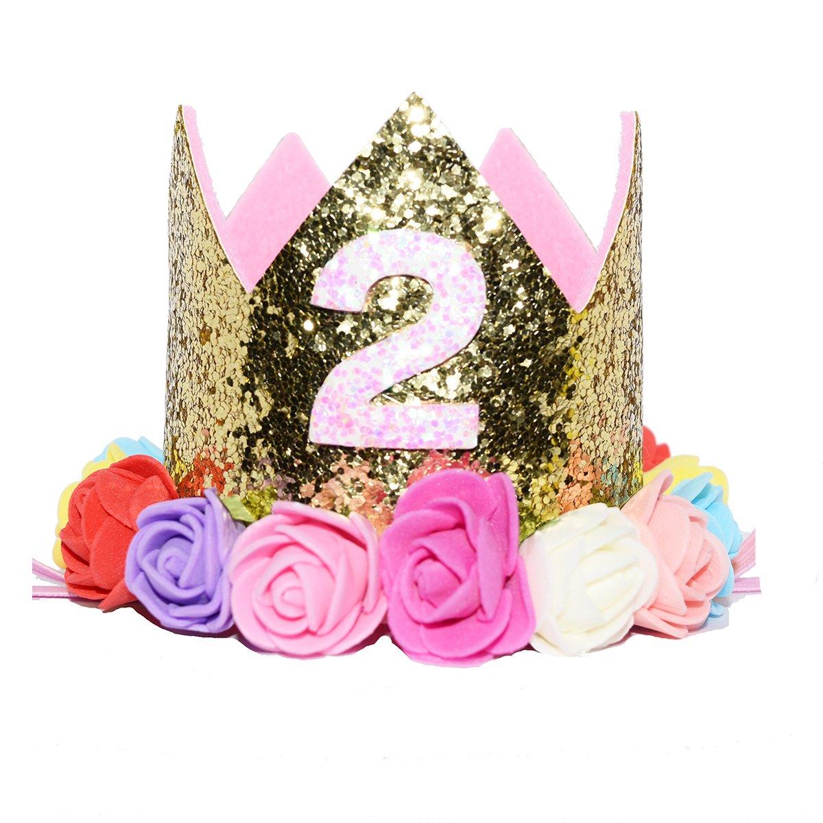 Glitter First Birthday Princess Flower Crown Tiara Headband Cake Smash