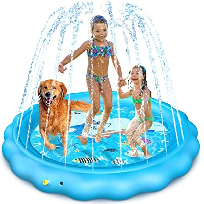 Dillitop Sprinkler for Kids, Splash Pad, Wading Pool and Kiddie Pool, Summer Outdoor Water Play Mat for for Boys Girls Fun Sprinkler Pool Sprinkler Toy Inflatable Spray Pad (Blue): Toys & Games