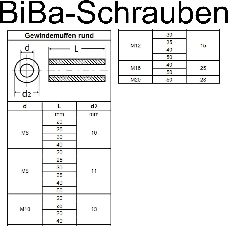 BiBa-Schrauben Gewindemuffen M6 x 20 rund D10 1 St/ück Edelstahl A2 V2A VA Distanzmuttern Verbindungsmuttern Langmuttern