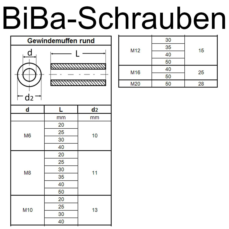 BiBa-Schrauben Gewindemuffen M6 x 20 rund D10 10 St/ück Edelstahl A2 V2A VA Distanzmuttern Verbindungsmuttern Langmuttern