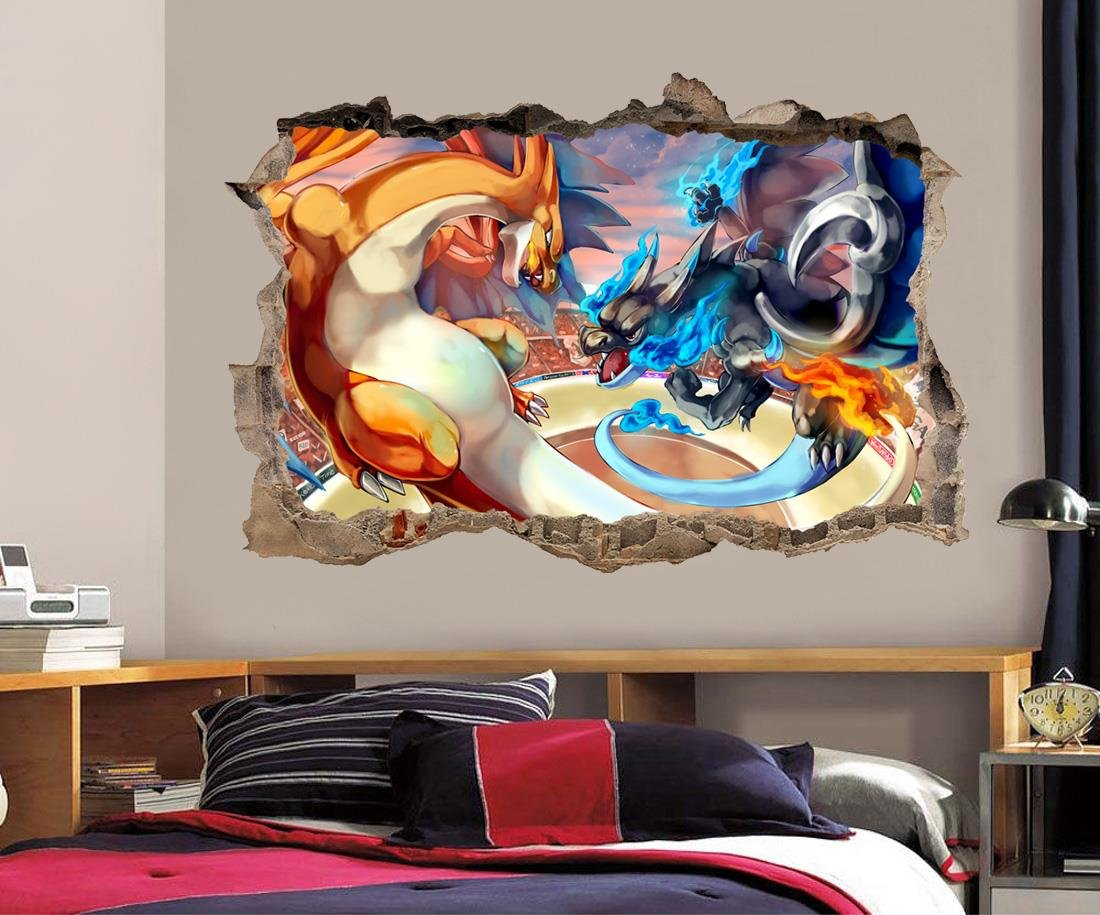 Amazon.com: Charizard Pokemon Smashed Wall Decal Graphic Wall Sticker Decor  Art H378, Large: Home U0026 Kitchen Part 34