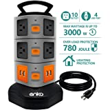 Power Strip Tower, ANKO 3000W 13A 16AWG Surge Protector Electric Charging Station, 10 Outlet Plugs with 4 USB Slot 6feet Cord Wire Extension Universal Charging Station (1-Pack)