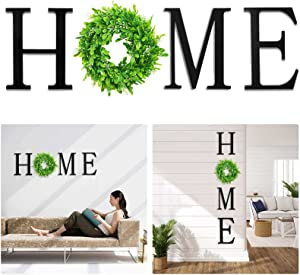 VIEFIN 12in Wood Home Letters for Wall Decor,Wall Hanging Home Signs with Wreath,Home Signs for Home Decor,Farmhouse Wall Decor for Living Room,Bedroom,Kitchen,Enterway,Home,Black