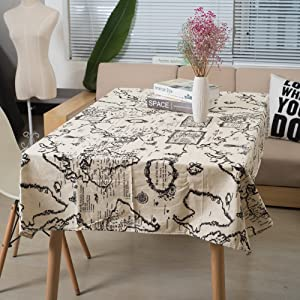 """Ogrmar 55""""x100"""" Artical Decrative Linens Tablecloths Picnic Burlap Tablecloth with World Map for Rectangle Desk of Bedroom and Kitchen Shown"""