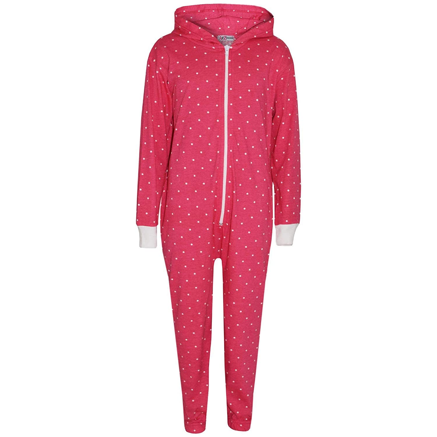 A2Z 4 Kids/® Kids Girls Onesie Designers Polka Dot Print Cotton Pink Hooded Onesie All in One Jumpsuit Playsuit New Age 2 3 4 5 6 7 8 9 10 11 12 13 Years