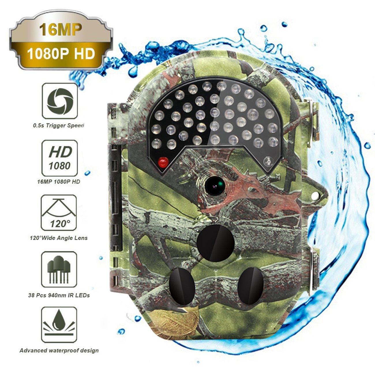 The perseids caza Trail Cámara 16 Mp 1080P 2.0 LCD Pantalla y cámara de caza con actualización camara fototrampeo 38pcs de 940 nm IR LED, visión nocturna hasta 65 ft/20 m IP54 Spray diseño de protección de agua