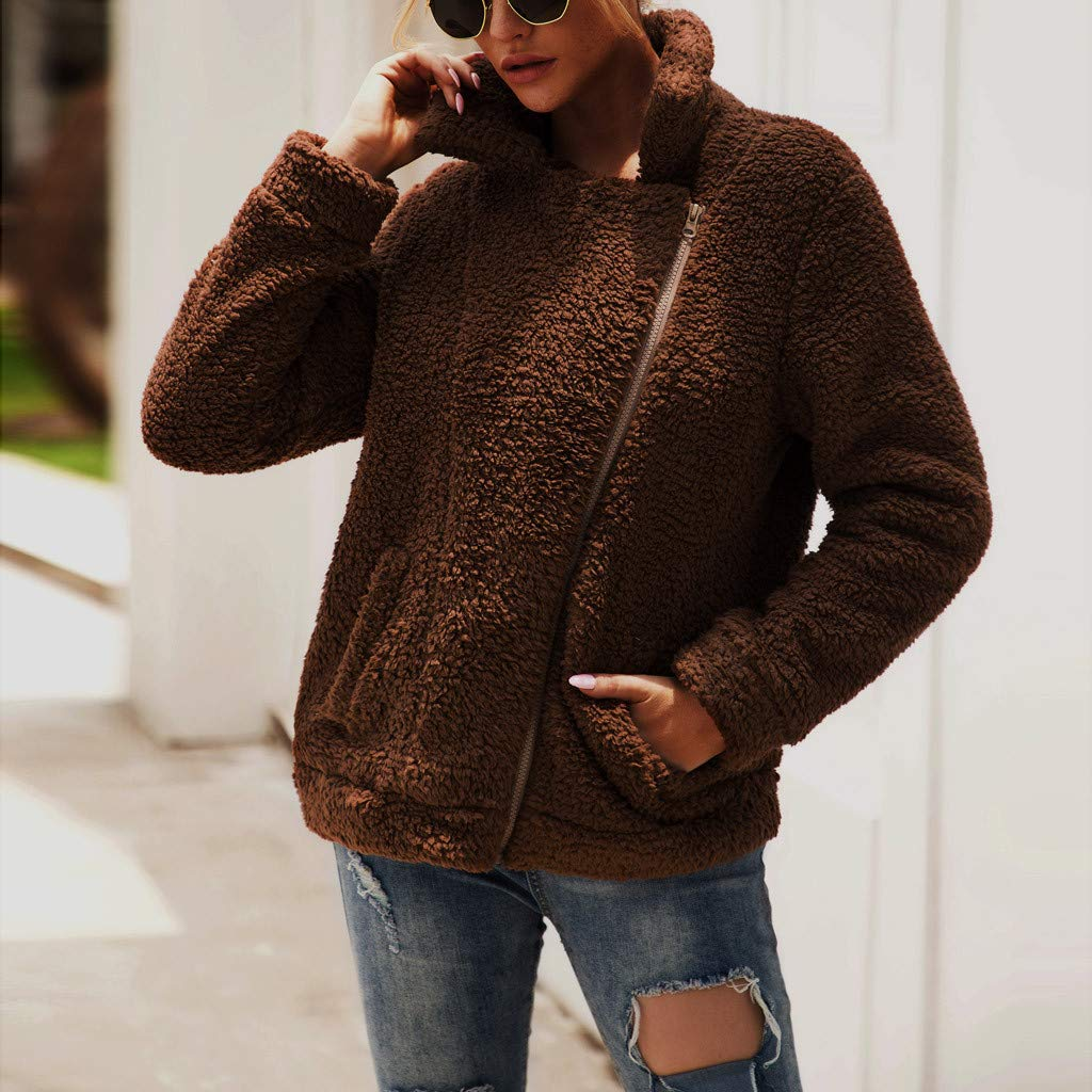 OFEFAN Womens Lapel Zip Up Faux Fur Shearling Fuzzy Fleece Jacket Teddy Bear Coat Warm Outwear with Pockets