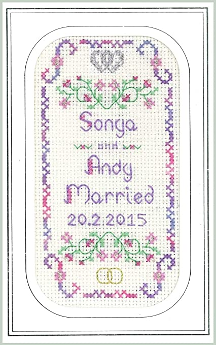 Lilac Wedding card with arch complete cross stitch kit on 16 aida