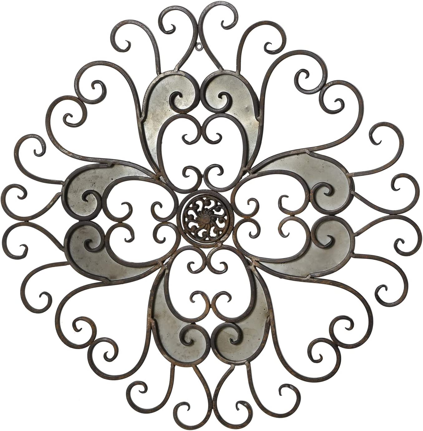 Adeco Rustic Urban Flower Scrolled Design, Metal Wall Decor For Nature Home Art Decoration & Kitchen Holiday Wall Decorations, Christmas Wall Art Gifts - 22.5x22.5 Inches