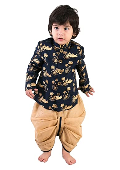eb5519f1e Cartyshop Boy's Indian Style Dhoti Kurts Navy Blue Bengal Tiger Print  Special kurta Pyjamas For Boy_12