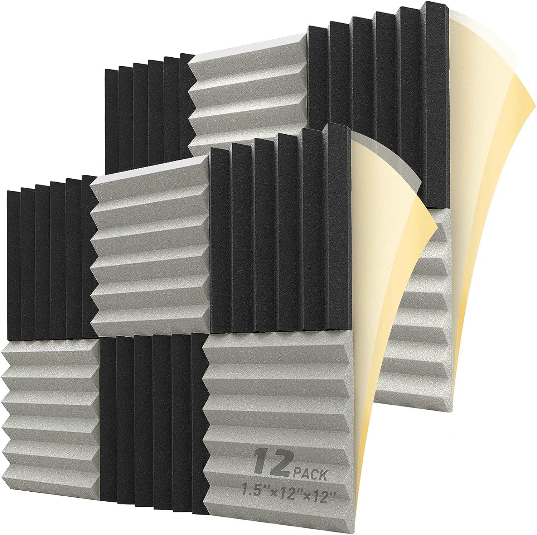 HEMRLY Sound Proof Foam Panels Self-Adhesive 12 Pack, 1.5