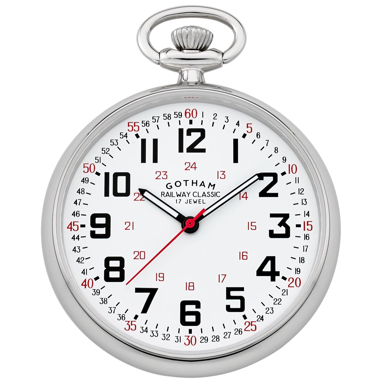 Gotham Men's Silver-Tone Mechanical Hand Wind Railroad Pocket Watch # GWC14100S by Gotham