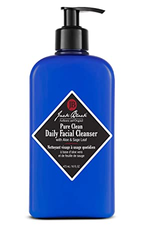 JACK BLACK Pure Clean Daily Facial Cleanser 2-in-1 Facial Cleanser and Toner, Removes Dirt and Oil, PureScience Formula, Certified Organic Ingredients, Aloe and Sage Leaf, 3, 6, 16 oz.