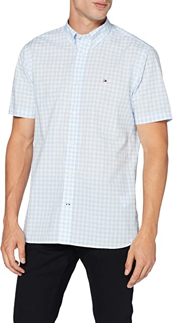 Tommy Hilfiger Classic Gingham Shirt S/s Camisa, Blue, S para Hombre: Amazon.es: Ropa y accesorios