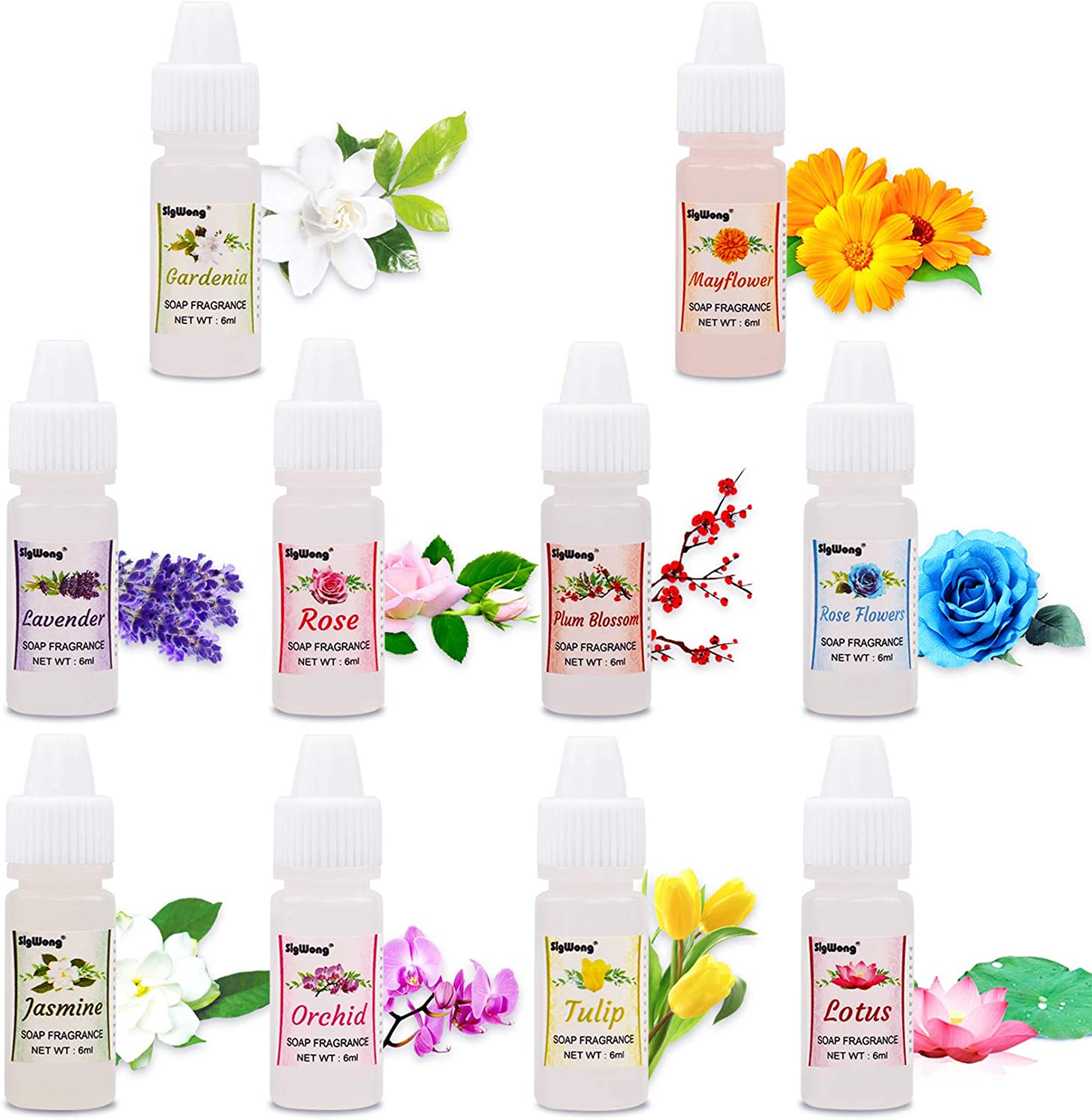 Soap Making Scents - 10 Liquid Floral Soap Fragrance Oil for Bath Bomb Making, Candle Making - Concentrated Food Grade Soap Flavoring for Soap Making Supplies, Cosmetic, DIY Slime (0.25/6ml Each)