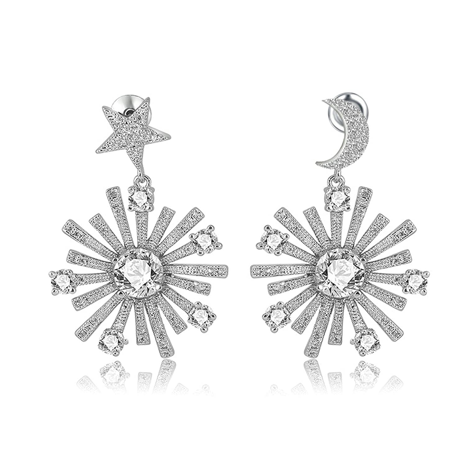 Gnzoe Jewelry Women White Gold Plated Stud Earring 4-Prong White Cubic Zirconia Star Moon 32.7x22MM