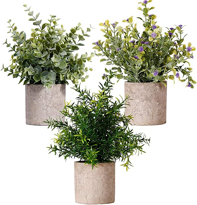 Mini Artificial Plant For Home Bathroom | Kitchen | Office Desk, Pack of 3