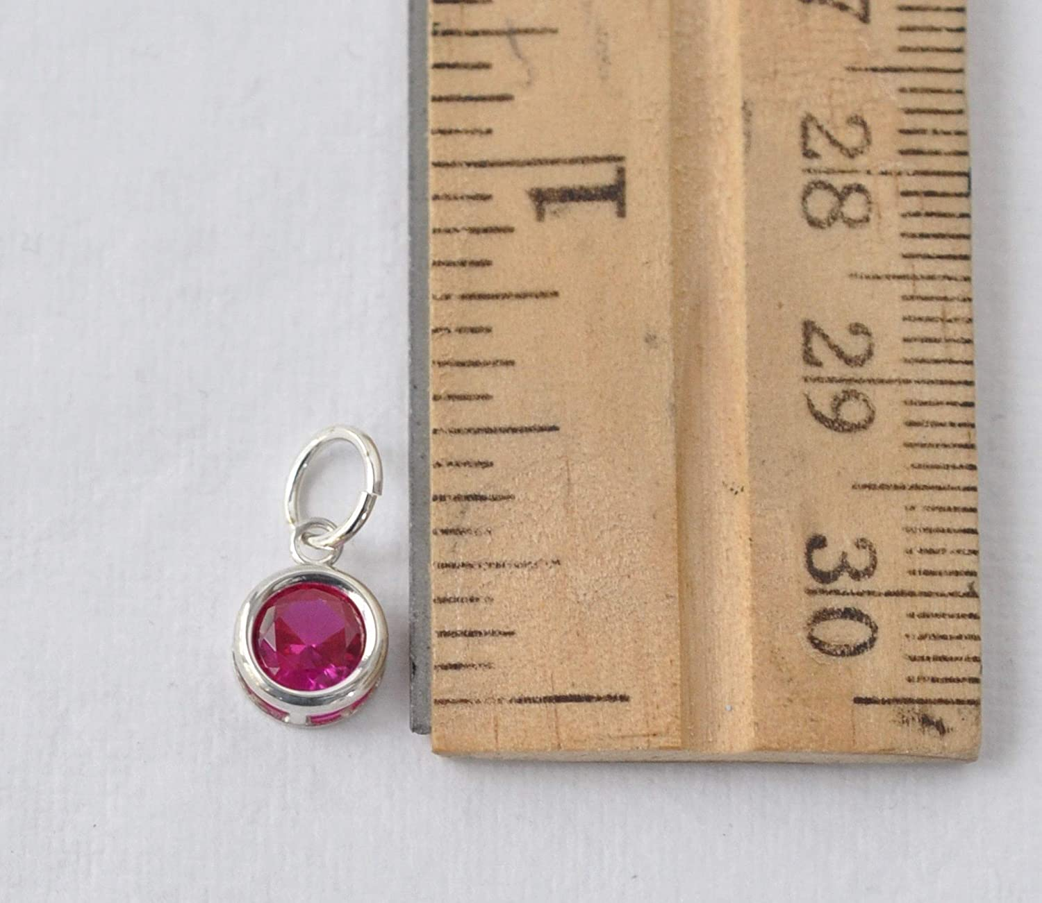Lab Created Ruby Small July Birthstone Charm Pendant in Sterling Silver DIY Jewelry Making Birthday Gifts for Women