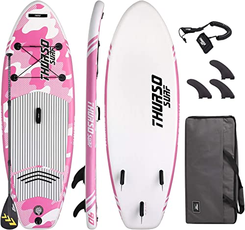 THURSO SURF Prodigy Junior Kids Inflatable SUP Stand Up Paddle Board 7 6 x 30 x 4 Two Layer Includes Adjustable Carbon Shaft Paddle 3 Fins Leash Duffle Bag NO Pump Included