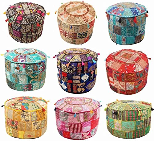 Indian Hippie Vintage Cotton Floor Pillow Cushion Patchwork Bean Bag Chair Cover Boho Bohemian Hand Embroidered Handmade Pouf Ottoman Mix 5 pc lot Assorted