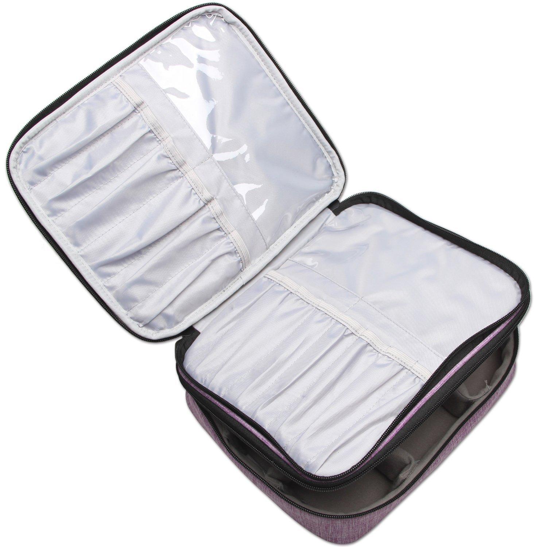 Teamoy Pinseltasche Kosmetik, Reise Kosmetiktasche für Kosmetik Pinsel, Make up Zubehör(nicht mehr als 10 Zoll/ 25.5cm) (Kein Zubehör im Lieferumfang enthalten), Lila