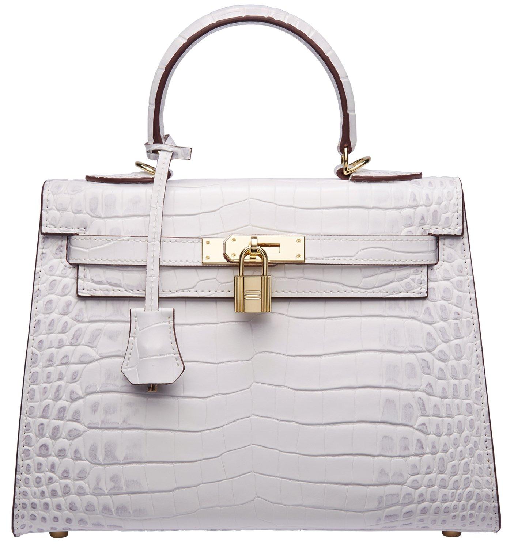 Women's Padlock Crocodile Leather Tote Top Handle Handbags Cherish Kiss(28CM, Croco White)
