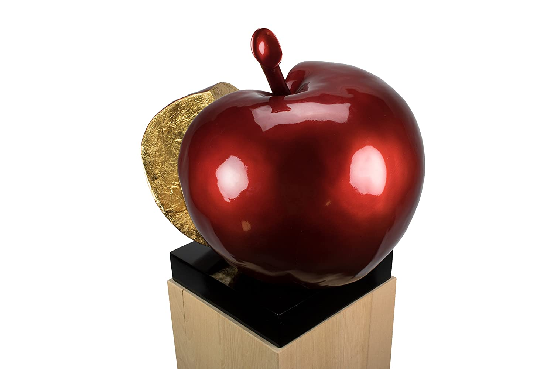 KunstLoft® Skulptur 'Evas Apfel' in 54x40x51cm | Moderne Kunststein-Figur | Apfel geschnitten Obst rot | Statue als Unikat - Handgefertigtes Kunstwerk | Schöne Wohnzimmer-Dekoration