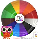 TIPEYE 3D Pen Filament Refills Pla 1.75mm of 12 Colors 20 Feet Total 240 Linear Feet with 100 Stencils EBook for MYNT3D, DigiHero, Canbor, Tecboss, Soyan,, DigiHero, Hongdak, Dikale 3D Printing Pen