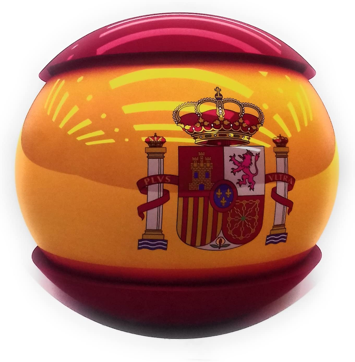 Pegatina Bandera de España con Escudo de España, Adhesiva Redonda Diámetro 13 cm: Amazon.es: Coche y moto