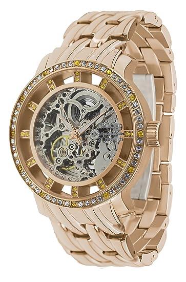 Moog Paris Chameleon Reloj Automático para Mujer con Esfera Esqueleto, Correa Oro Rosa de Acero