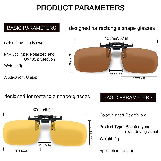 Splaks Clip-on Sunglasses, Unisex Polarized Frameless Rectangle Lens Flip Up Clip on Prescription Sunglasses Eyeglass, 2-Piece Clip on Glasses