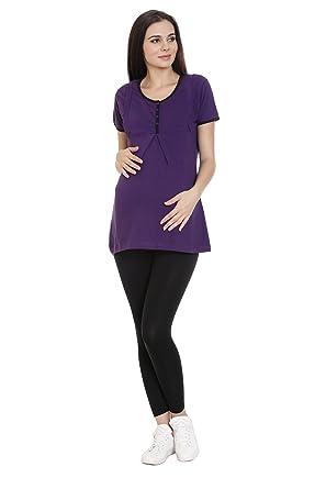 c6eb439e52f GOLDSTROMS Women's Round Neck Maternity/Feeding/Nursing Tshirt/Top/Tee/Tunic