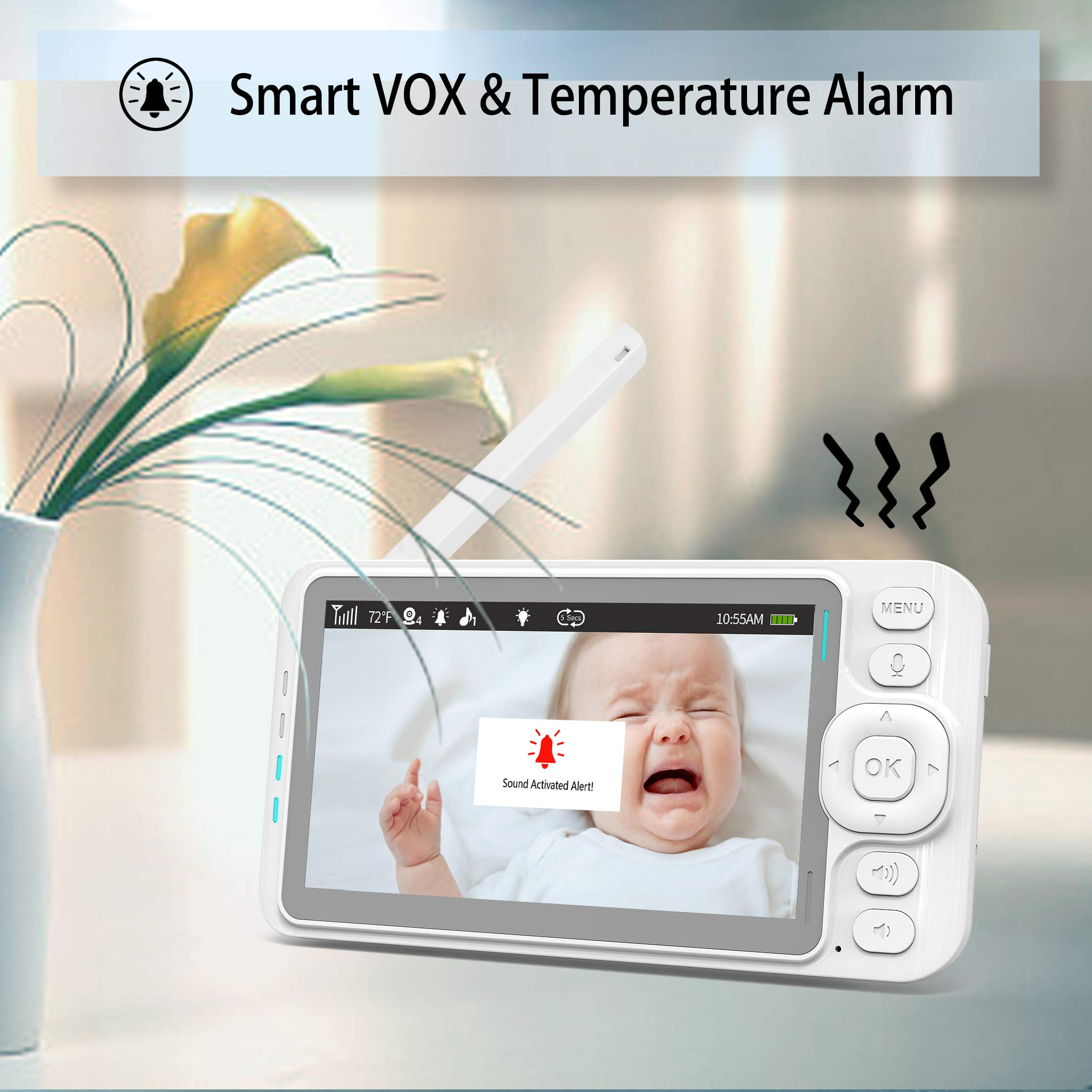 Samxic Video Baby Monitor with 720P Camera, 5 Inches Display, Crying & Temperature Alert, Two-Way Talk, No Glow Night Vision, Remote Pan & Tilt & Zoom, High Privacy Baby Monitor System by Samxic (Image #4)