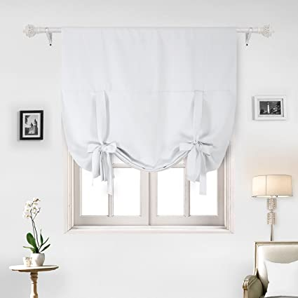 Deconovo Blackout Curtain Tie Up Shade Window Panels For Living Room And  Bedroom Greyish White 46W