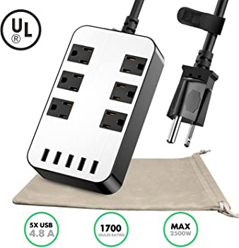 AUSFORE Surge Protector with 6-Outlet & 5 USB Ports Power Strip