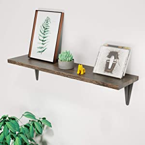 BAMFOX Floating Wall Shelf,Natural Bamboo Wall Storage Shelf for Bedroom/Living Room/Bathroom/Kitchen/Office