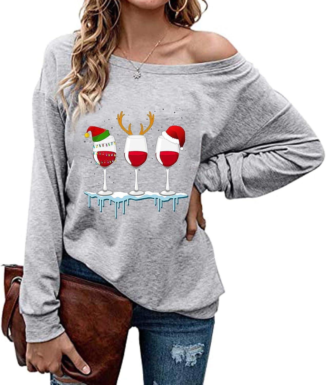 Women Merry Christmas Shoulder Blouse T-Shirt Classic Fit Crewneck Pullover Tops
